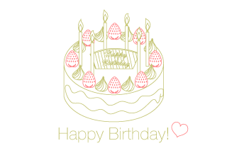 Line drawing birthday cake card